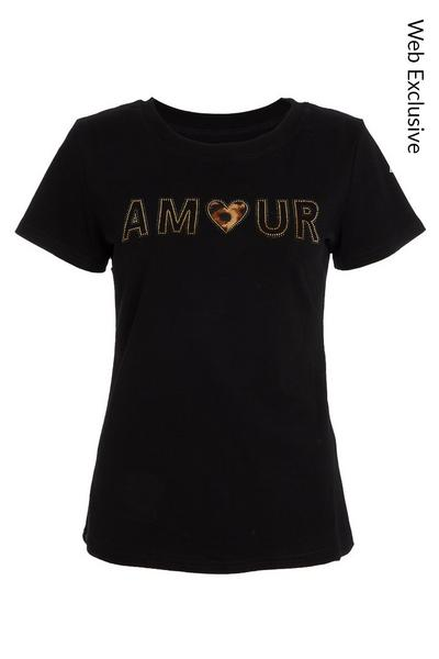 Black Diamante Slogan T Shirt